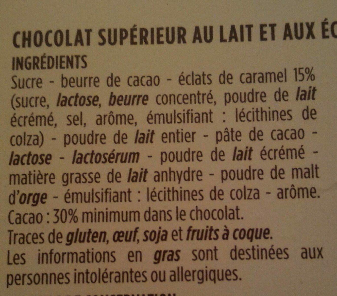 Chocolat au lait pépites de caramel - 成分 - fr