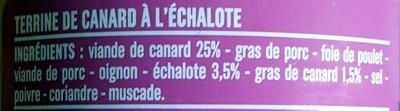 Terrine de canard à l'échalote - Ingrédients - fr