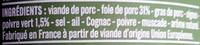 Terrine de campagne au poivre vert - Ingrédients - fr