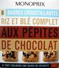 6 Barres croustillantes riz et blé complet aux pépites de chocolat - Product