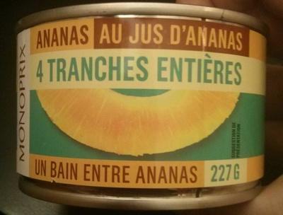 Ananas au jus d'ananas 4 tranches entières - Produit - fr