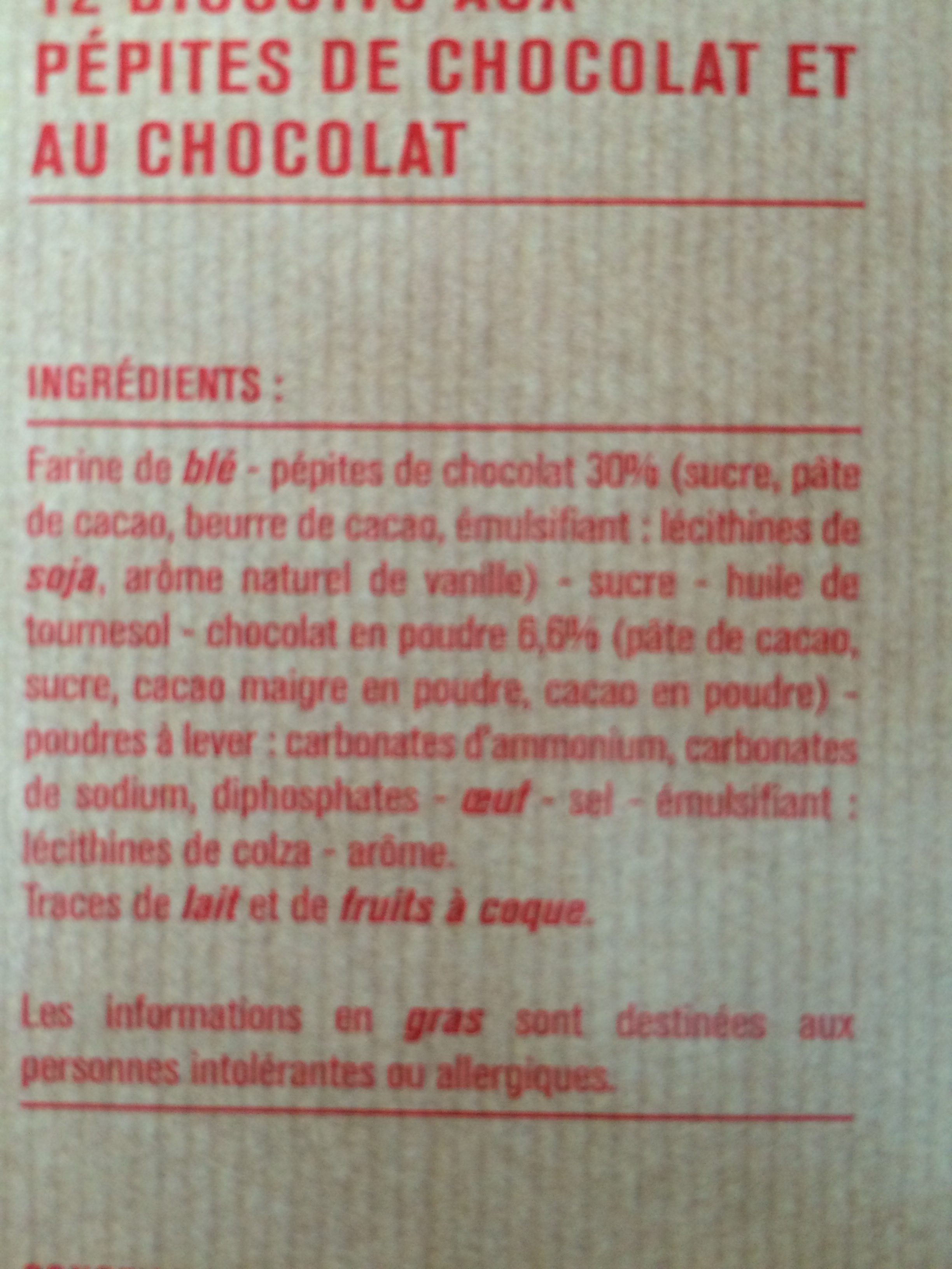 Barquettes choco-noisettes - Ingredients