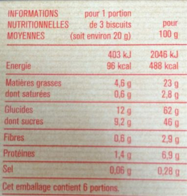 Barquettes choco-noisettes - Nutrition facts