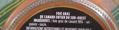 Foie gras entier de canard du sud ouest - Ingredients