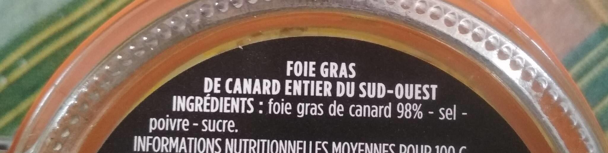 Foie gras entier de canard du sud ouest - Ingrédients - fr