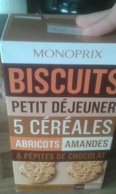 Biscuits Petit Déjeuner 5 Céréales Abricots, Amandes & Pépites de Chocolat - Product - fr