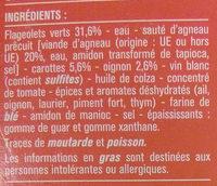 Sauté d'agneau et flageolets verts - Ingrédients - fr