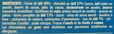 Sablés céréales chocolat au lait - Ingrédients - fr