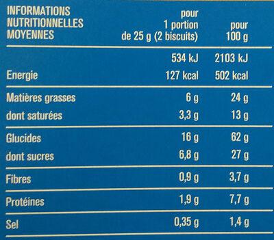 Sablés céréales chocolat au lait - Informations nutritionnelles - fr