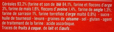 Biscottes aux 6 céréales - Ingrédients - fr