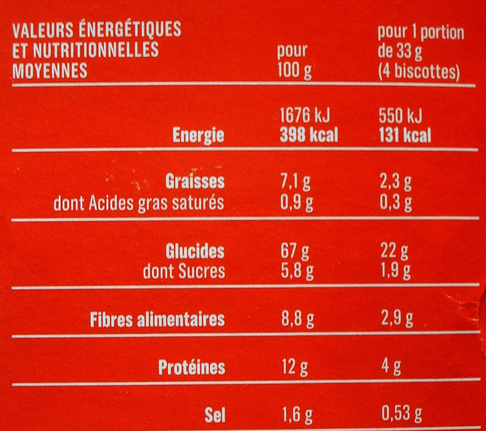 Biscottes aux 6 céréales - Nutrition facts - fr