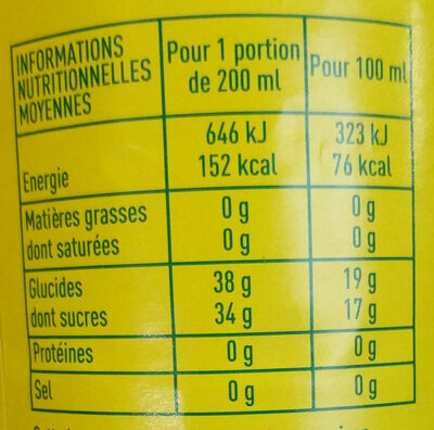 100% pur jus de raisin - Valori nutrizionali - fr