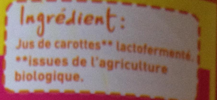 100% Pur Jus Carotte - Ingrédients