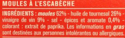 Moules à l'escabèche, recette espagnole - Ingredientes - fr