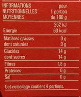 compote allégée pomme fraise - Nutrition facts