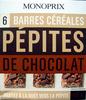 6 Barres céréales Pépites de chocolat Monoprix - Produit
