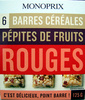 6 Barres céréales Pépites de fruits rouges Monoprix - Product