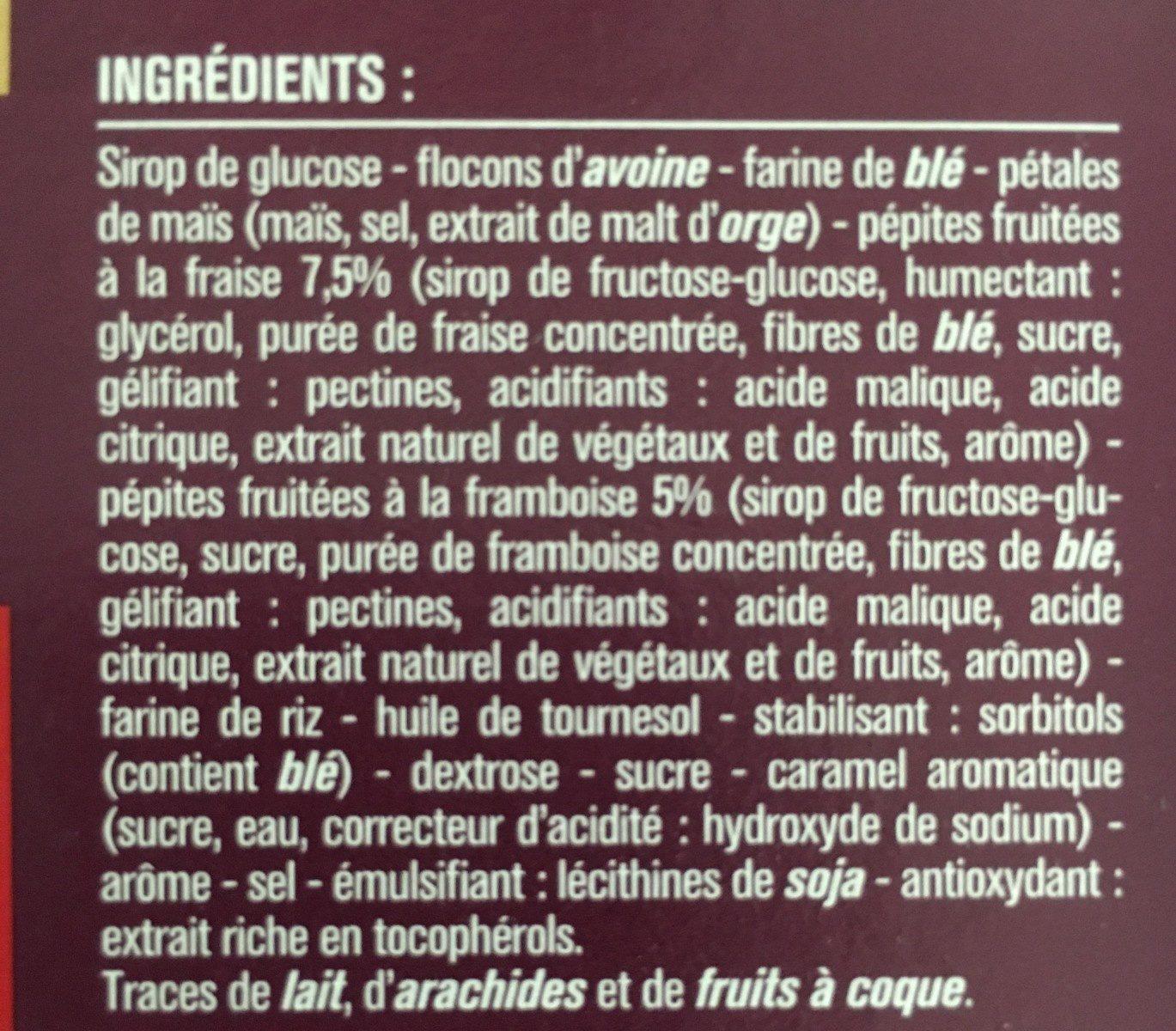 6 Barres céréales Pépites de fruits rouges Monoprix - Ingrediënten - fr