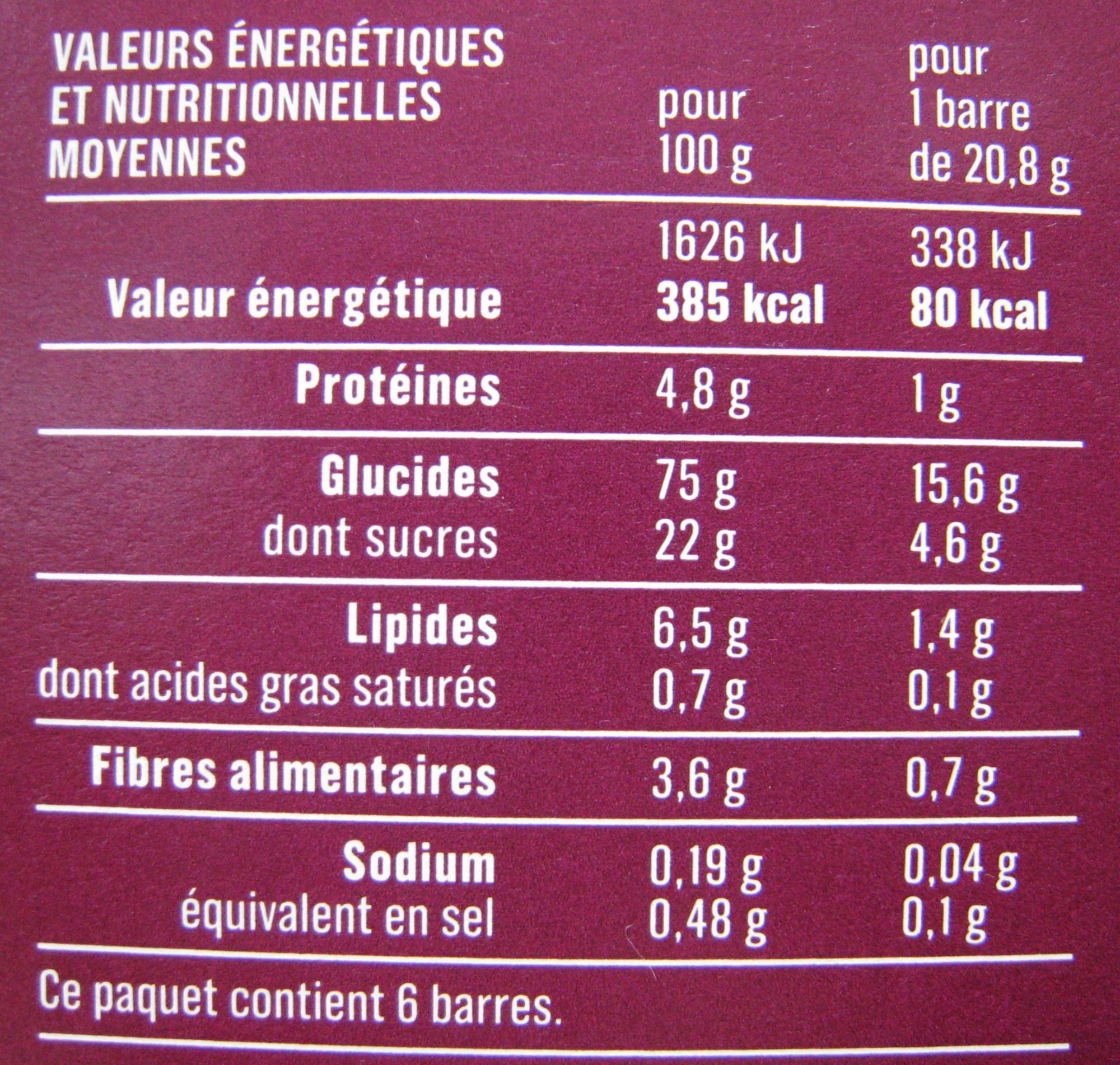 6 Barres céréales Pépites de fruits rouges Monoprix - Voedingswaarden - fr
