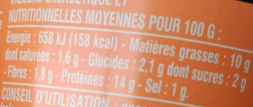 Rillettes de saumon au citron - Informations nutritionnelles - fr