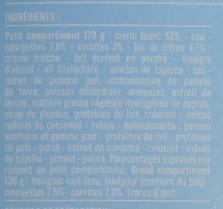 Merlu Blanc Sauce Citron et Boulgour aux Petits Légumes - Ingrédients - fr