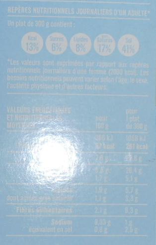 Merlu Blanc Sauce Citron et Boulgour aux Petits Légumes - Informations nutritionnelles - fr