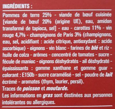 Bœuf Bourguignon, Pommes de Terre et Petits Légumes - Ingrédients - fr