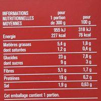 Bœuf Bourguignon, Pommes de Terre et Petits Légumes - Informations nutritionnelles - fr