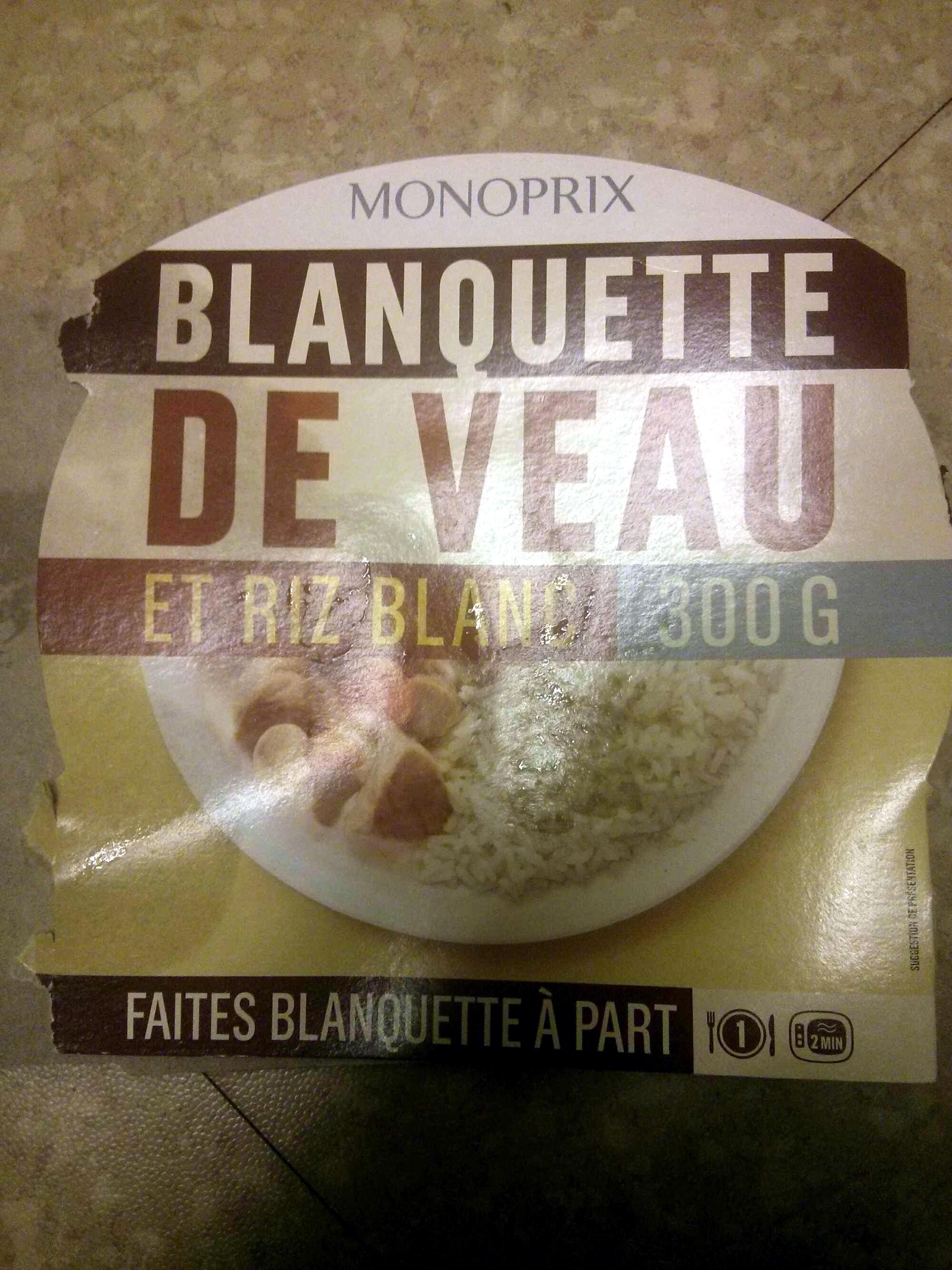 Blanquette de veau et riz blanc - Product - fr