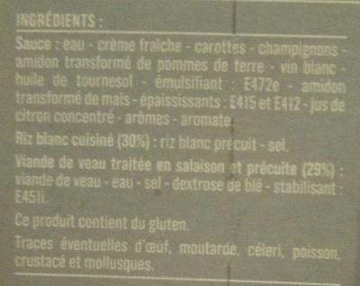 Blanquette de veau et riz blanc - Ingrediënten - fr
