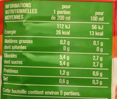 100 % Pur Jus Tomate - Informations nutritionnelles - fr