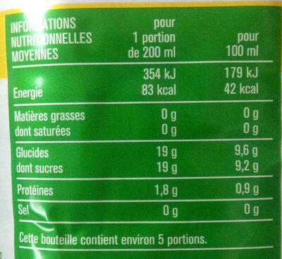 100 % Pur Jus Clémentine - Nutrition facts