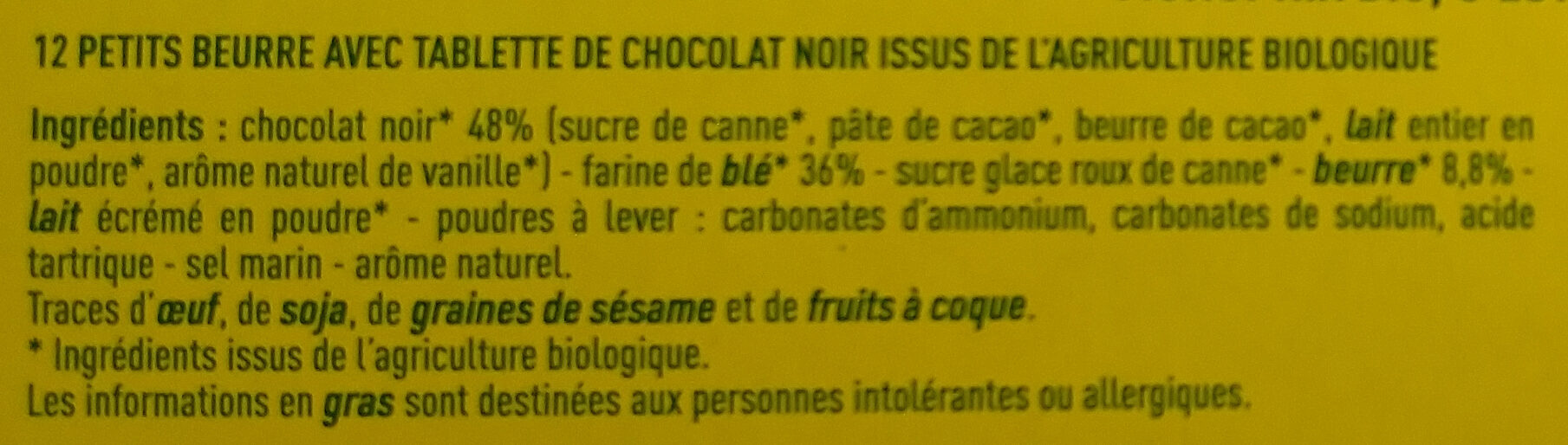 Petit beurre Au chocolat noir - 成分 - fr