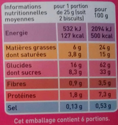Petit Beurre 48 % de Chocolat Noir - Voedigswaarden