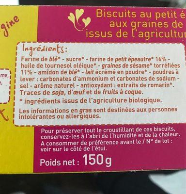 Biscuits petit épeautre et sésame - Ingrédients - fr