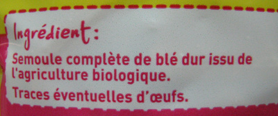 Penne au blé intégral Bio - Ingredients