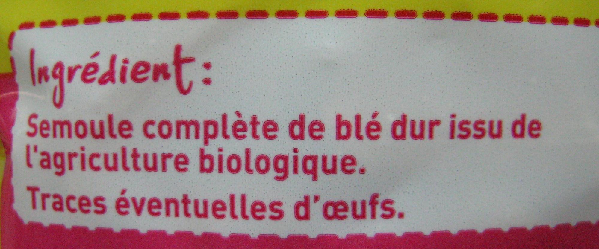 Penne au blé intégral Bio - Ingrédients - fr
