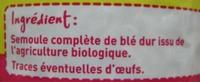Coquillettes au blé intégral Bio - Ingrédients