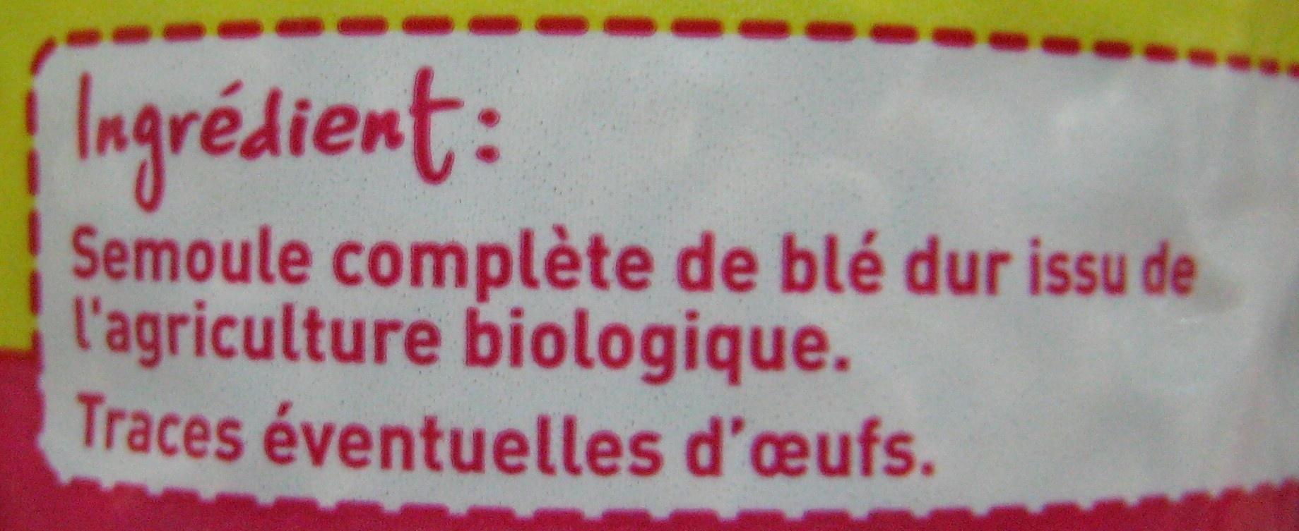 Coquillettes au blé intégral Bio - Ingrédients - fr