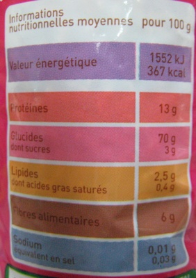 Coquillettes au blé intégral Bio - Informations nutritionnelles