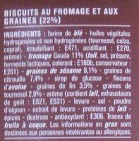 Crackers Gouda et graines (Lin, sésame, citrouille & tournesol) - Ingrédients - fr