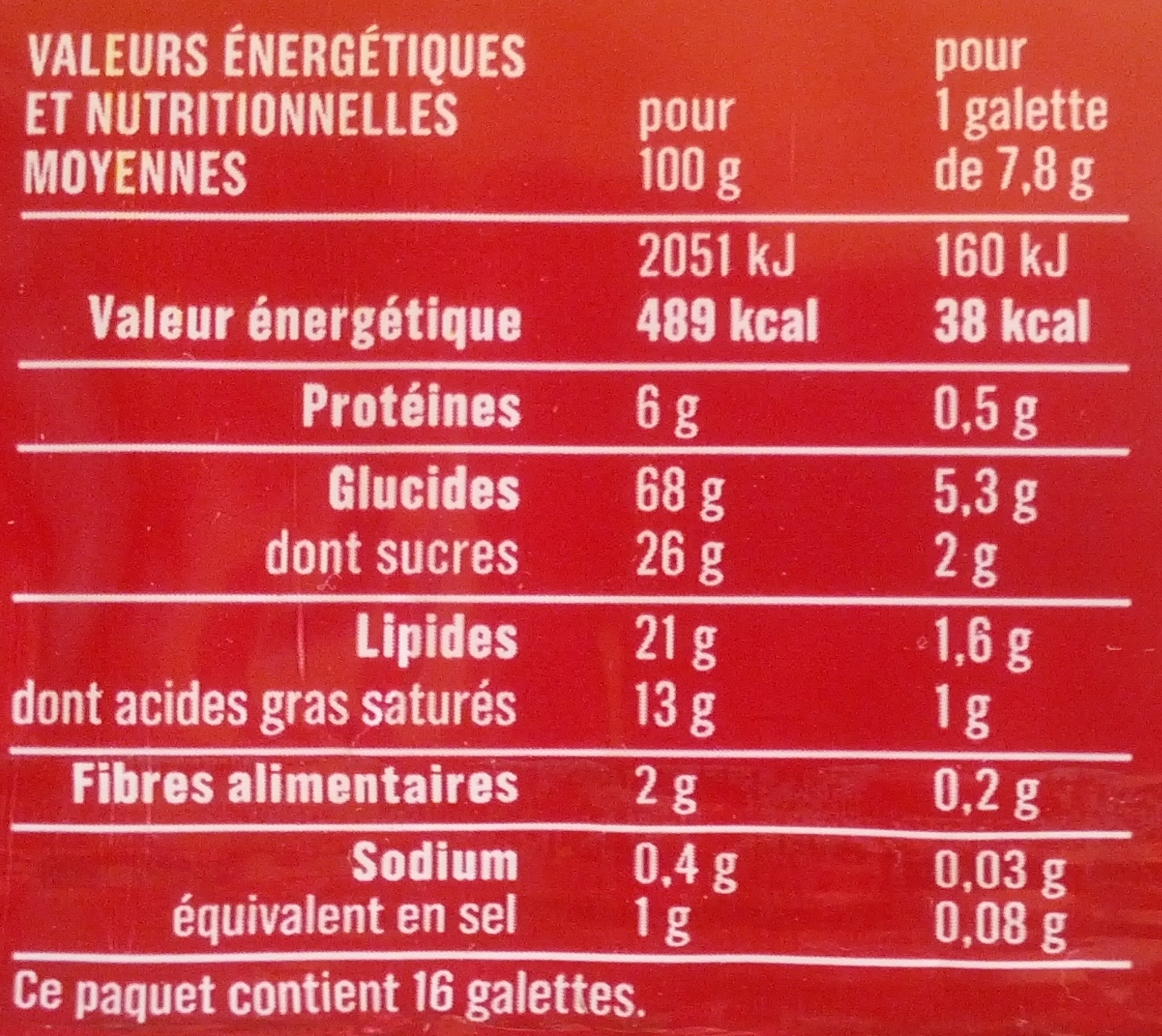 Galettes bretonnes pur beurre - 营养成分 - fr
