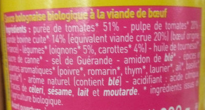 Sauce pour pâtes - Bolognaise - Ingredientes