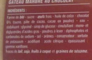 Marbré au chocolat - Ingredients - fr