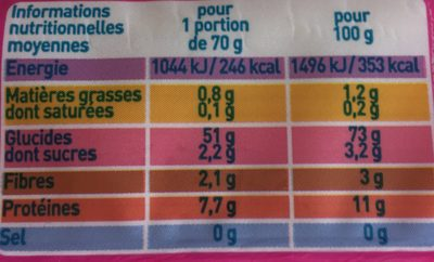 Spaghetti - Informations nutritionnelles