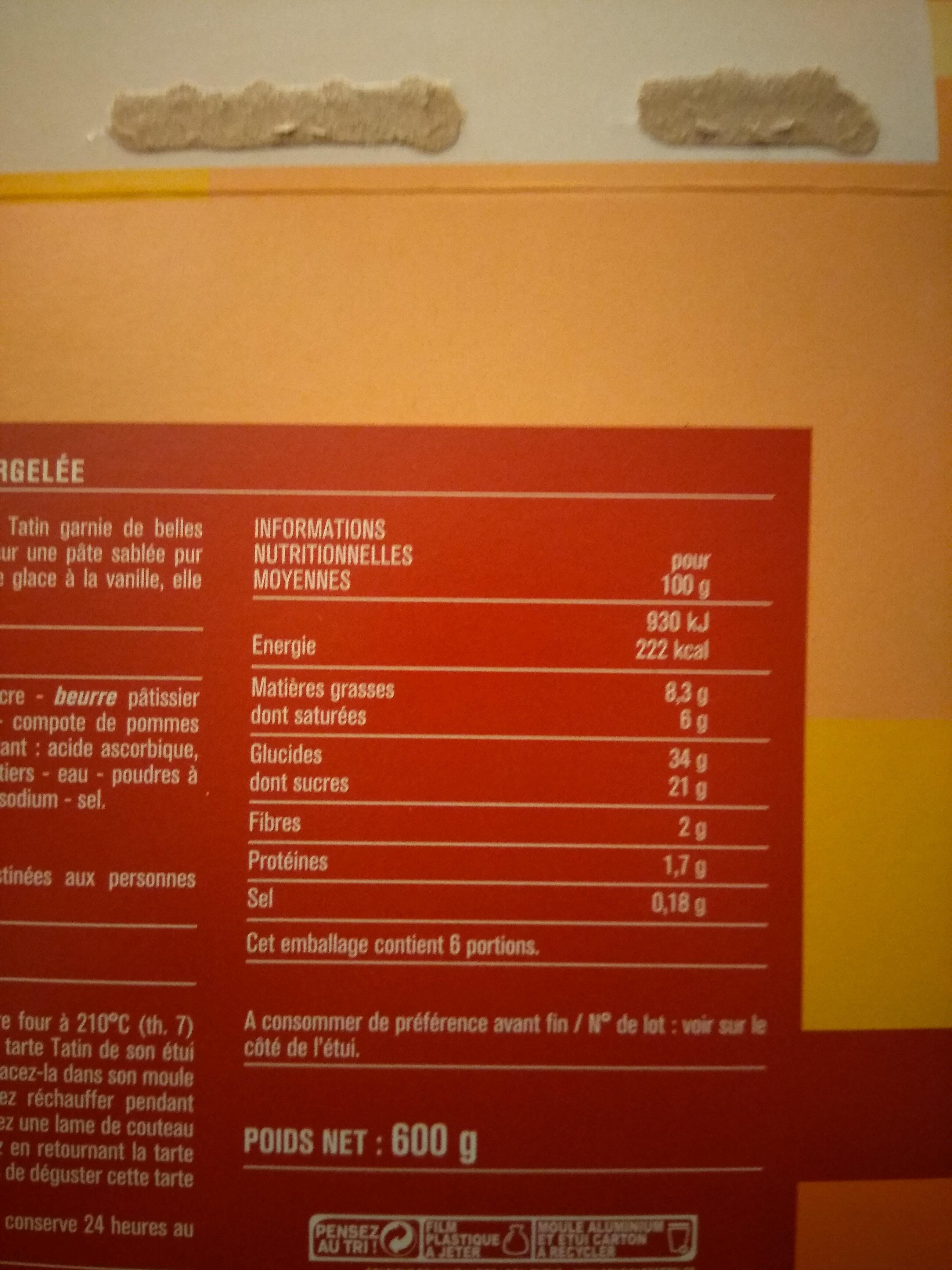 Tarte Tatin, déjà cuite - Informations nutritionnelles - fr
