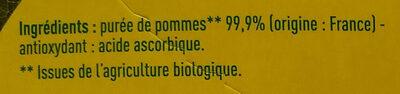 Compote de pomme allégée en sucres Bio - Ingredients
