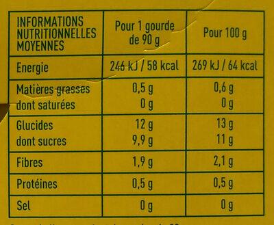 Compote de pomme allégée en sucres Bio - Nutrition facts
