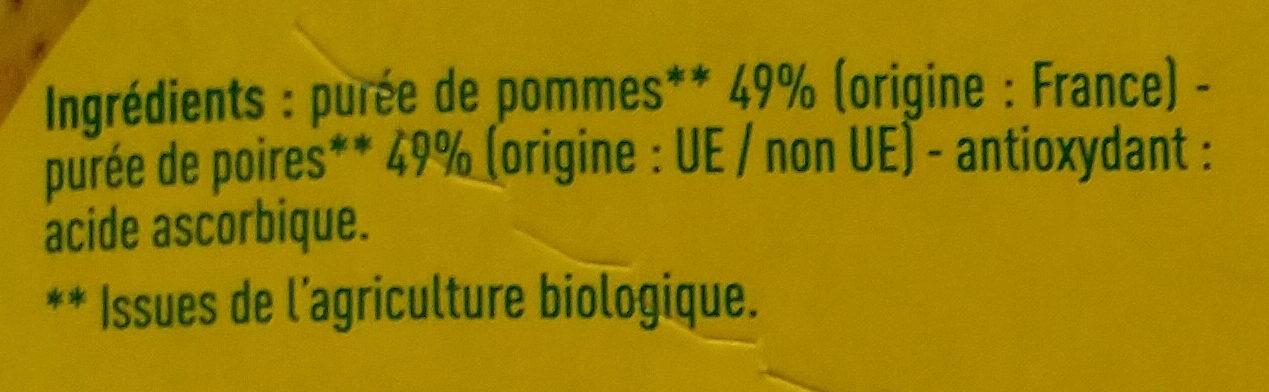 Compote Pomme-poire Bio Monoprix - Ingredients - fr