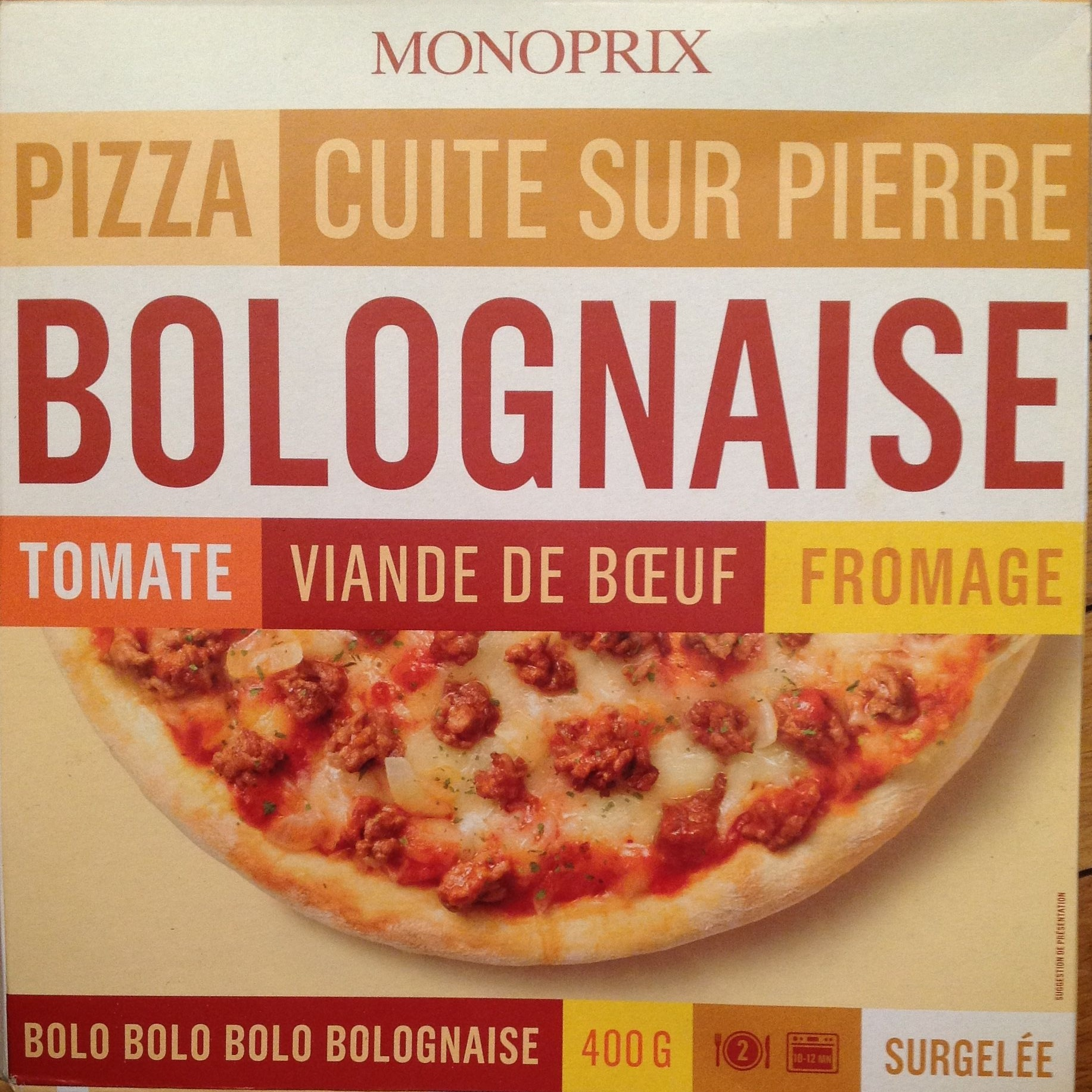 pizza cuite sur pierre bolognaise tomate viande de b uf fromage monoprix 400 g. Black Bedroom Furniture Sets. Home Design Ideas